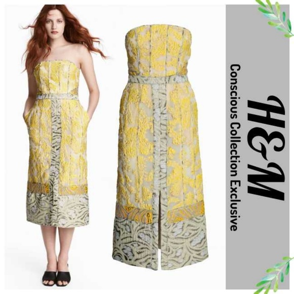 ec96a1f3489b H&M Dresses & Skirts - H&M Conscious Exclusive Yellow Jacquard Midi Dress